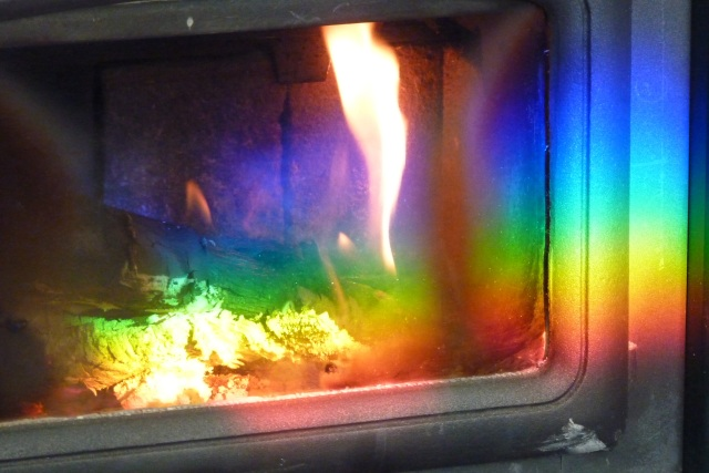 Photograph: Sharron R. McMillan Rainbow on woodstove