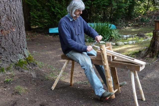 Photograph: Sharron R. McMillan Ken built a shave horse and is now making gardening tool handles.