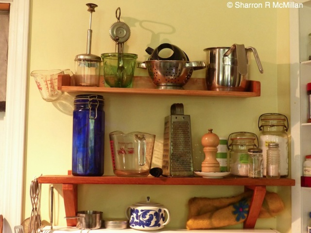 antiques on shelf